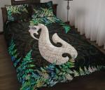 Aotearoa Quilt Bed Set Manaia Silver Fern Paua Shell