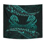 Aotearoa Tapestry Turquoise Maori Manaia with Silver Fern TH5