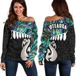 Aotearoa Women's Off Shoulder Sweater Maori Manaia Paua Shell A025