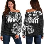 Aotearoa Women's Off Shoulder Sweater - Maori Manaia A025