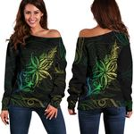 Light Fern Frangipani Off Shoulder Sweater, Green K5