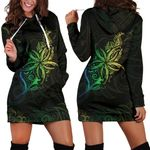Light Fern Frangipani Hoodie Dress, Green K5