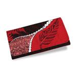 Paua Shell Womens Wallet, Maori Silver Fern Red K5