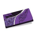 Paua Shell Womens Wallet, Maori Silver Fern Purple K5