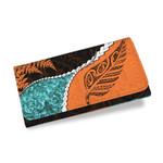Paua Shell Womens Wallet, Maori Silver Fern Orange K5