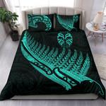 Tiki Silver Fern Tattoo Bedding Set - Turquoise