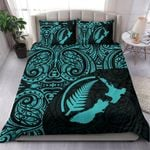New Zealand Maori Bedding Set, Aotearoa Map Silver Fern Duvet Cover and Pillow Cases TH05