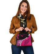 Paua Shell Maori Silver Fern Shoulder Handbag Pink K5