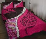 Paua Shell Maori Silver Fern Quilt Bed Set Pink K5