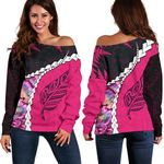 Paua Shell Maori Silver Fern Off Shoulder Sweater Pink K5