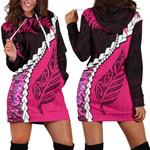 Paua Shell Maori Silver Fern Hoodie Dress Pink K5