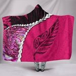 Paua Shell Maori Silver Fern Hooded Blanket Pink K5