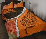 Abalone Shell Maori Silver Fern Quilt Bed Set Orange K5