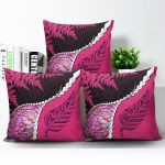 Paua Shell Maori Silver Fern Pillow Cover Pink K5