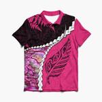 Paua Shell Maori Silver Fern Polo Shirt Pink K5