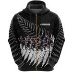New Zealand Haka Rugby Zip Hoodie - Best Silver Fern Black K4