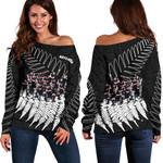 New Zealand Haka Rugby Off Shoulder Sweater - Best Silver Fern Black K4