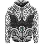 Aotearoa Zip-Up Hoodie - Maori Tiki Paua Shell