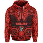 Aotearoa Hoodie - Red Maori Tiki Paua Shell
