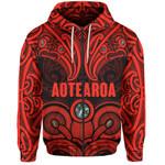 Aotearoa Zip-Up Hoodie - Red Maori Tiki Paua Shell