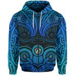 Aotearoa Zip-Up Hoodie - Blue Maori Tiki Paua Shell