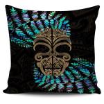 Silver Fern Pillow Cover Moko Maori Paua Shell - Gold