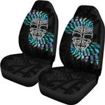 Silver Fern Car Seat Covers Moko Maori Paua Shell - White