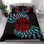 Silver Fern Bedding Set Moko Maori Paua Shell - Red