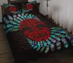 Silver Fern Quilt Bed Set Moko Maori Paua Shell - Red