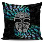 Silver Fern Pillow Cover Moko Maori Paua Shell - White