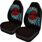 Silver Fern Car Seat Covers Moko Maori Paua Shell - Red