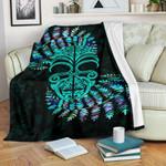 Silver Fern Premium Blanket Moko Maori Paua Shell - Turquoise