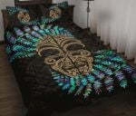 Silver Fern Quilt Bed Set Moko Maori Paua Shell - Gold