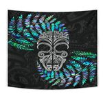 Silver Fern Tapestry Moko Maori Paua Shell - White