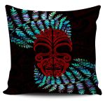 Silver Fern Pillow Cover Moko Maori Paua Shell - Red