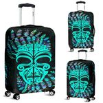 Silver Fern Luggage Covers Moko Maori Paua Shell - Turquoise