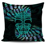 Silver Fern Pillow Cover Moko Maori Paua Shell - Turquoise
