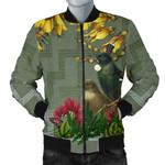 Tui Bird Maori Poutama Men Bomber Jacket K5