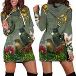 Tui Bird Maori Poutama Hoodie Dress K5