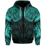 New Zealand Zip-Hoodie Maori Snake Tattoo Turquoise