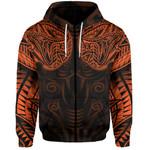 New Zealand Zip-Hoodie Maori Snake Tattoo Orange