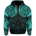 New Zealand Hoodie Maori Snake Tattoo Turquoise