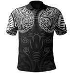 New Zealand Polo Shirt Maori Snake Tattoo White