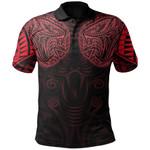 New Zealand Polo Shirt Maori Snake Tattoo Red