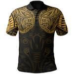 New Zealand Polo Shirt Maori Snake Tattoo Gold