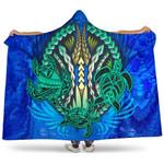 Polynesian Turtle Hooded Blanket Swirls Blue K4