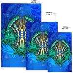Polynesian Turtle Area Rug Swirls Blue K4
