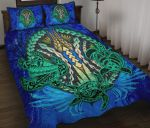 Polynesian Turtle Quilt Bed Set Swirls Blue K4