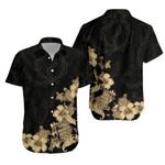 Hibiscus Plumeria Golden Hawaiian Shirt K5