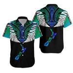 New Zealand Maori Hawaiian Shirt, Silver Fern Poutama K5